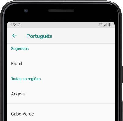 Opções de idioma do Android