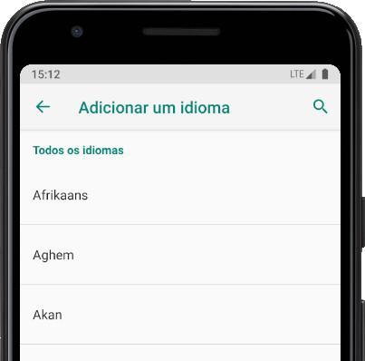 Pesquisar idiomas Android
