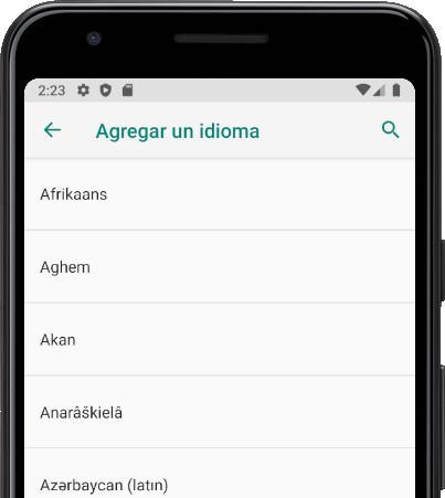 Buscar idiomas Android