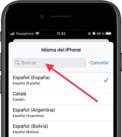 Buscar idioma iOS