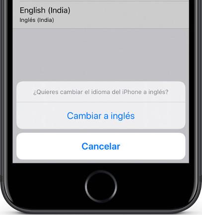 Confirmar cambio idioma iOS