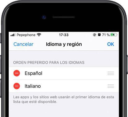 cambiar orden idiomas iOS