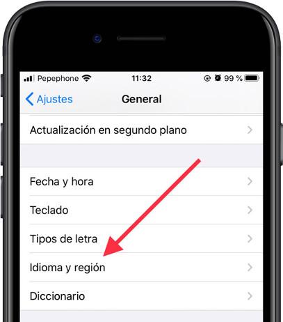 Idioma y región iOS