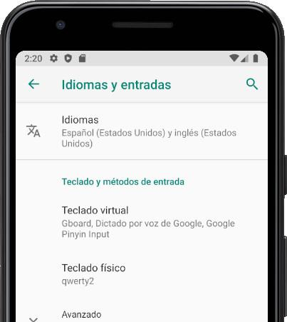 Idiomas menu Android