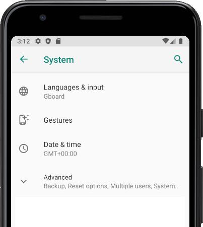 Languages & input Android