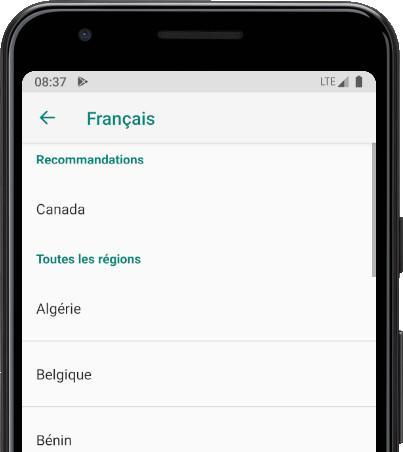 Opciones idiomas Android