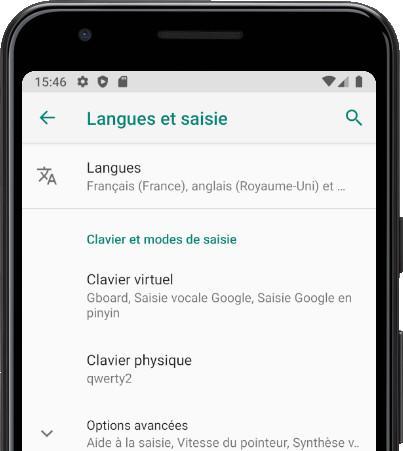 Menu Langues Android
