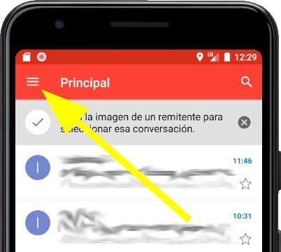 Menú principal Gmail