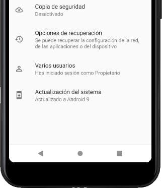 Menú sistema avanzado Android