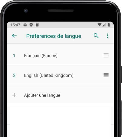 Préférences langue Android