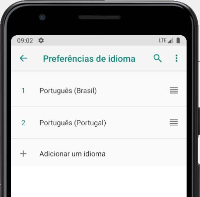 Classificar idiomas do Android