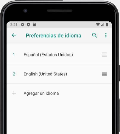 Agregar un idioma Android