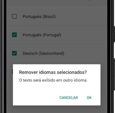 Confirme a remoção de idiomas do Android