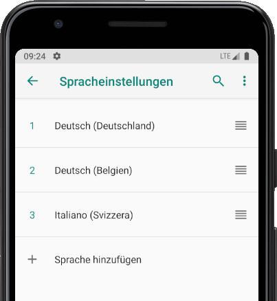 Sprachen sortieren Android