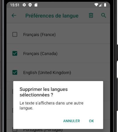 Confirmar quitar idiomas Android